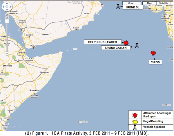 Horn of Africa Piracy Activity, week of 3 Feb 2011, courtesy of the USN Maritime OPINTEL Report