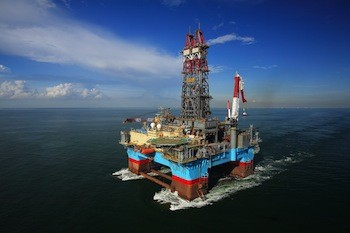 ExxonMobil Exploration Company used the Maersk Developer semi-submersible drilling rig, shown here, to drill ExxonMobil's first post-moratorium deepwater exploration well in the Gulf of Mexico. Photo: Business Wire