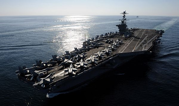 The Nimitz-class aircraft carrier USS John C. Stennis (CVN 74) transits the Straits of Hormuz, Nov. 12, 2011. (U.S. Navy photo by Mass Communication Specialist 3rd Class Kenneth Abbate/Released)