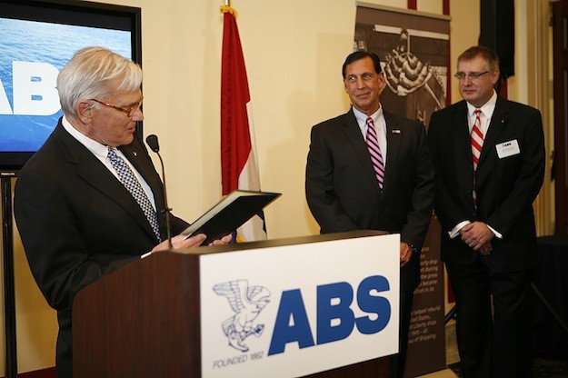 Robert D. Somerville, ABS Chairman discusses ABS' 150-year history, highlighting its commitment to promoting safety in the American and international maritime community. Also pictured are Congressman Frank LoBiondo (R-NJ), Chairman of the Subcommittee on Coast Guard and Maritime Transportation and Christopher J. Wiernicki, ABS President and CEO. Photo: ABS