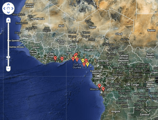 IMB&#039;s Piracy Reporting Center&#039;s Live Piracy Map for West Africa in 2012. Click for interactive map.