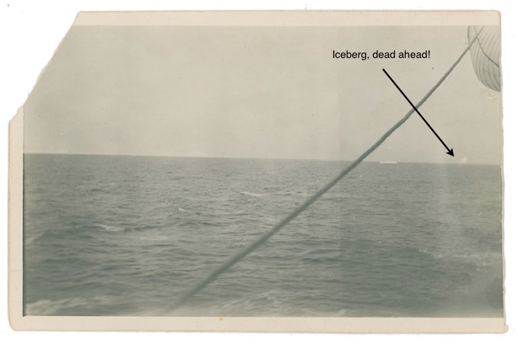 Original unsigned vintage first generation photo of the Titanic wreck site, 5.25 x 3.5, taken aboard the Carpathia on the morning of April 16, 1912
