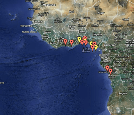 A list of West African pirate activity as reported on the IMB&#039;s Piracy Reporting Centre&#039;s Live Piracy Map