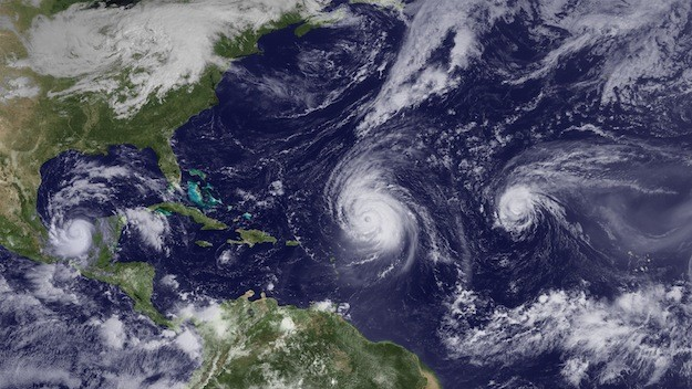 Hurricanes Karl, Igor and Julia (from left to right on Sept. 16) were part of the onslaught of Atlantic storms last hurricane season (2010). Via NOAA
