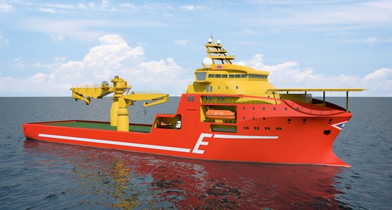 An illustration of the llarge offshore subsea construction vessel, SALT 301 OCV-design.