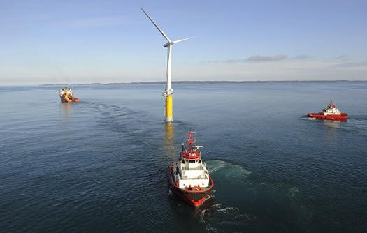 In 2009, the world's first floating wind turbine, known as Hywind, became operational in the North Sea off the coast of Norway.