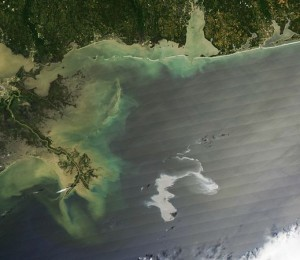A view of the Gulf oil spill from space.