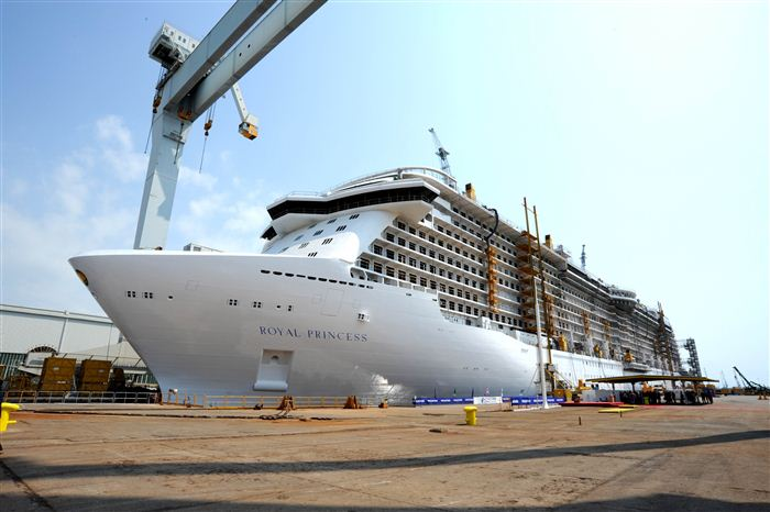 The Royal Princess under construction at Fincantieri's Manfalcone shipyard. Photo: Fincantieri