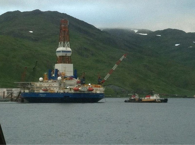 """Might as well do something while you're doing nothing!"". Shell's Kulluk rig was towed out of Dutch Harbor Monday, presumably to make its way up North. Image:"