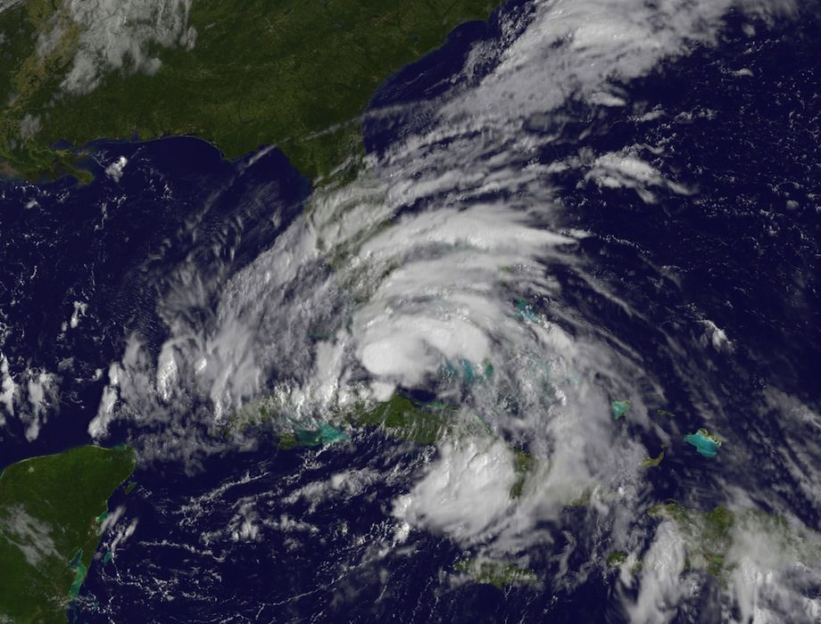 his visible image of Tropical Storm Isaac was captured by NOAA's GOES-13 satellite on Sunday, Aug. 26 at 9:45 a.m. EDT and shows clouds from Tropical Storm Isaac from Cuba to northern Florida. Credit: NASA GOES Project