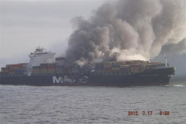 MSC Flaminia burning on July 17.