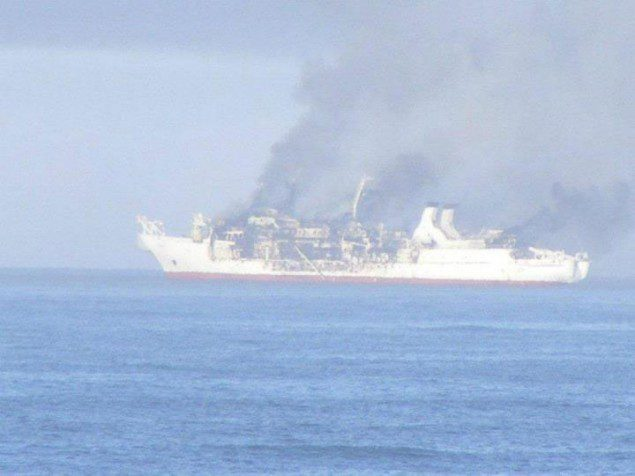 Cable ship on fire