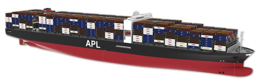 The new hull design is expected to boost fuel economy of ultra large container ships by some 20 percent. image: DNV