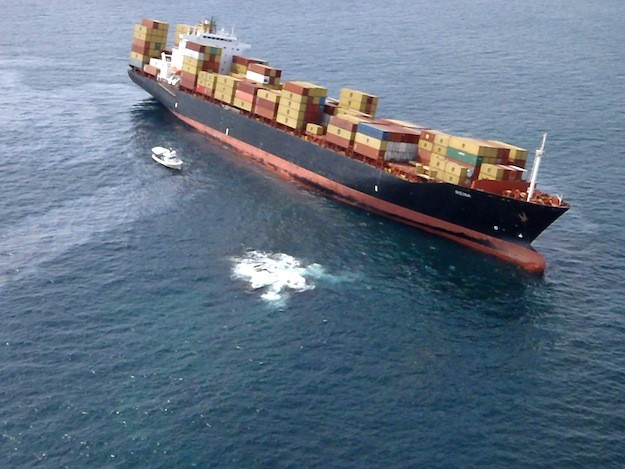 Fly-over shots of the M/V Rena stuck on the Astrolabe Reef on October 8, three days after grounding. Photo: Dudley Clemens