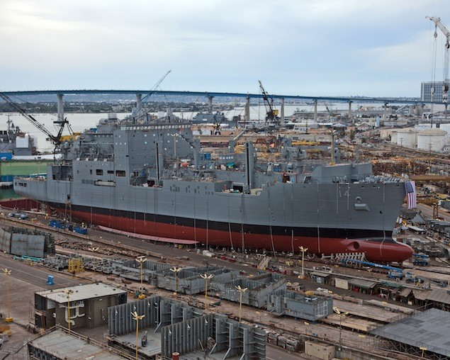 The USNS Cesar Chavez ready for launch at General DynamicsNASSCO in May 2012. Photo: General DynamicsNASSCO