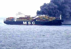 The MSC Flaminia on fire in the mid-Atlantic.