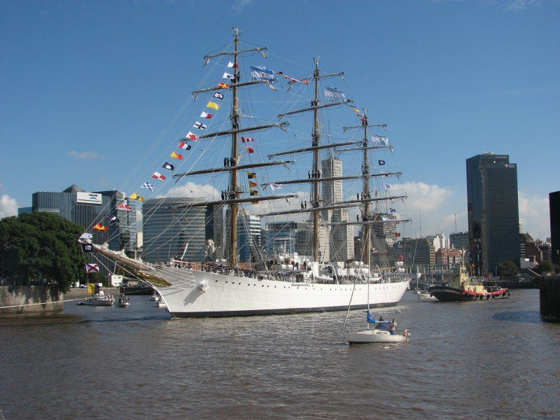 The ship in question is the ARA Libertad, a tall ship used for training by the Argentine Navy.