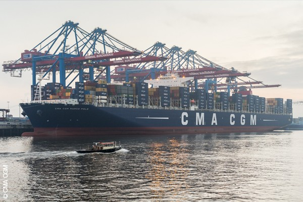 CMA CGM Marco Polo in Hamburg.