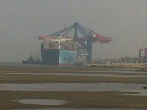 The Emma Maersk berthed at the Suez Canal Container Terminal (SCCT) Saturday. Image: Maersk Line Facebook page