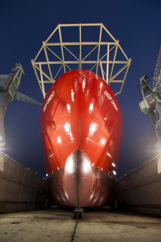 Deep Orient technip ship bow drydock