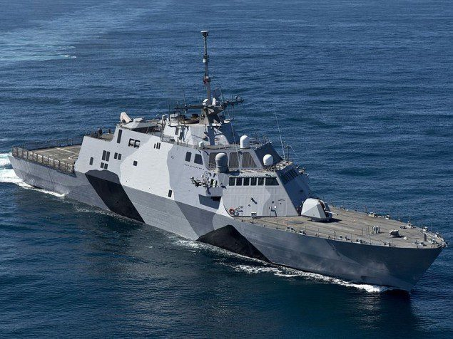 USS Freedom (LCS-1) shows off her camouflage scheme on sea trials in February 2013 prior her first deployment to the Asia-Pacific region in March. U.S. Navy Photo