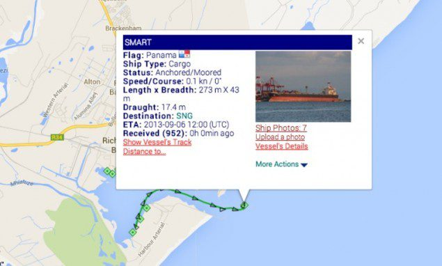 AIS data for MV Smart provided by MarineTraffic.com