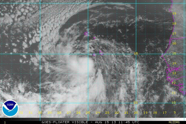 TS Erin 1145Z 15 Aug 2013 Visible Satellite image via NOAA