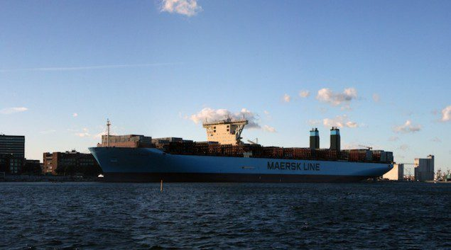 Majestic Maersk, the second vessel in Maersk Line's new Triple-E class, seen in Copenhagen Monday, September 23, 2013. Image courtesy Jon
