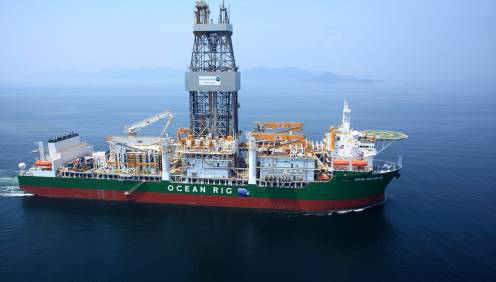 Ocean Rig's Ocean Rig Mylos, a 7th generation drillship based on the SAIPEM 10000 design. Image credit: Ocean Rig