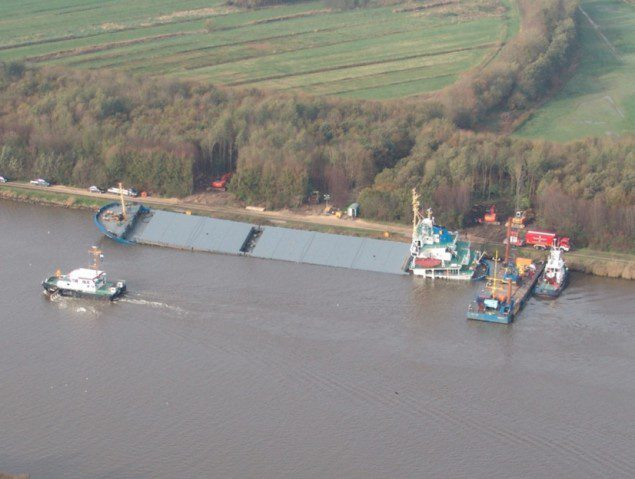 Bulldozers attached to the MV Siderfly in the Kiel Canal, October 31, 2013. Image courtesy CCME