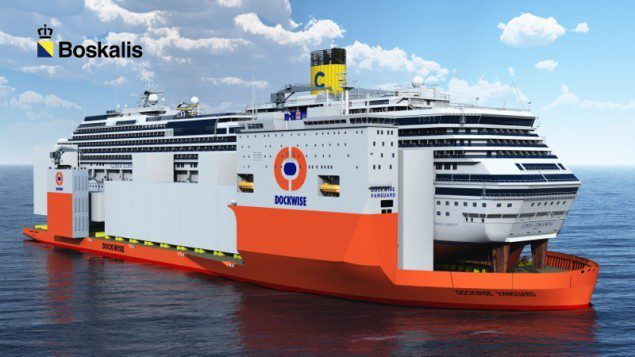 Illustration showing the Costa Concordia onboard Dockwise Vanguard. Image courtesy Boskalis