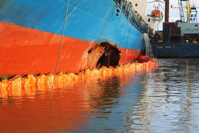 One of two holes that took down the MV Siderfly in Germany's Kiel Canal. Image courtesy CCME