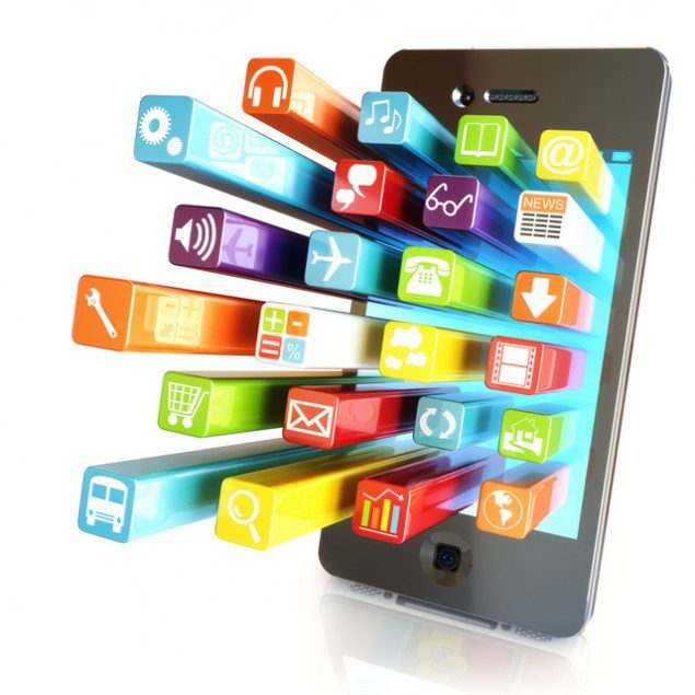 app Smartphone touchscreen smartphone with application software icons extruding from the screen